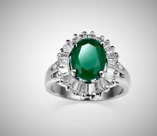 Classic Women Emerald Topaz Gemstones 925 Sterling Silver Ring - W7-151