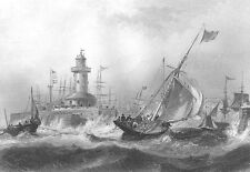 Kent RAMSGATE HARBOR PIER SAILBOATS SHIPS STORM WAVES ~ 1840 Art Print Engraving