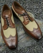 Mens Handmade Formal Shoes Two Tone Beige Suede & Brown Leather Brogue For Men