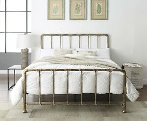 Industrial Metal Bed Frame Brass Frame Double King Size Scaffold Pipe Belmont