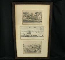 Antique Framed Old New York Litho Etching Prints DT Valentine's Manual 1859 1863