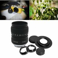 CCTV 25mm f/1.4 C Mount TV Movie Camera Lens+ Micro 4/3 M4/3 Adapter Black