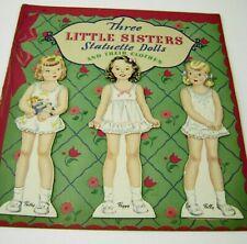Vtg Paper Dolls 1943 Three Little Sisters Hilda Miloche Whitman Uncut Rare!