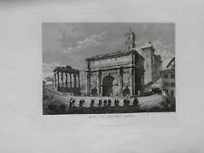 Roma  acquaforte Arco di Settimio Severo  1843 grande formato Cottafavi
