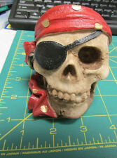 Pirate skull with eyepatch and bandana great detailing on small resin skull