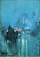 Nocturne, Railway Crossing Chicago by Childe Hassam Giclee Print Repro on Canvas