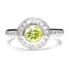 Fancy Yellowish Green Round Diamond Bezel Set Halo Engagement Ring White Gold