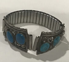 Southwest Traditions Indian  Large Turquoise Sterling 925 Watch Band Signed MRF
