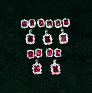 WHOLESALE 5PC 925 STERLING SILVER CUT RED RUBY TOPAZ EARRING PENDANT SET  0 h615