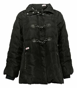 Dennis Basso Women's Sz M Water Resistant Quilted Toggle Jacket Black A343918