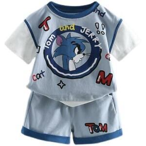 Baby Kids Children Boys Girls Tshirt + Shorts Tom & Jerry Cute Clothes Set 2-6yr