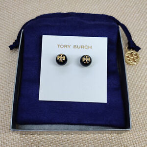 NWT Tory Burch Evie Black Crystal Pearl stud earrings w/ card and pouch