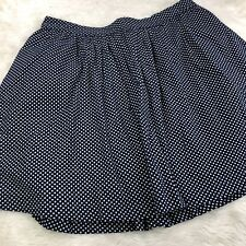 Boden Polka Dot Skirt Womens Sz 14 Navy Blue Off White Pockets Fully Lined