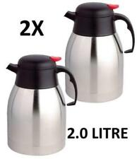 X2   2L  LITRE STAINLESS STEEL TEAPOT VACUUM JUG FLASK COFFEE TRAVEL HOT THERMOS