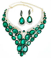 Green Statement Choker Necklace Earring Set Prom Drag