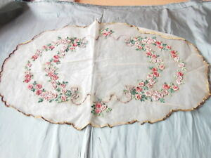 Unusual Antique Silk Gauze Mat with Stiffened Hard Flower Heads and Leaves