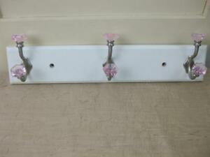 Wall Mounted 3 Hook Coat Hanger Hat Rack White Painted Board Nickel w Pink Knobs