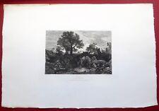 Eau forte, Les vaches à l'Abreuvoir, Sartirana, édition Cadart, XIXe.