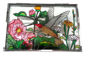 Lovely Stained Glass Hummingbird Jewelry Box With Mirrored Bottom