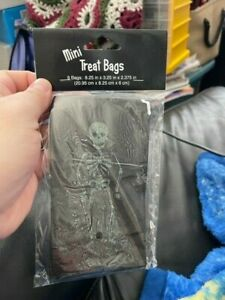Skeleton Bones Black Halloween Holiday Party Favor Sack Mini Glitter Treat Bags