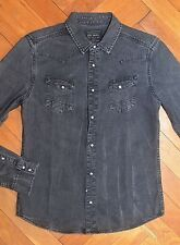 AllSaints Spitalfields Men's Vintage Black ROKU Denim Shirt Small