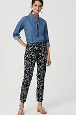 NWT ANN TAYLOR LOFT Forever Navy Vine Riviera Pants in Marisa Fit Size 8