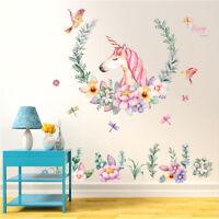 Unicorn Nursery Wall Decal Mural Art Removable Vinyl Home Decor Stickers ba