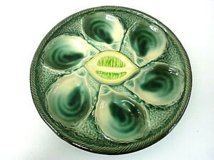 Gorgeous French Majolica oyster plate, signed St Clément,oyster and lemon decor