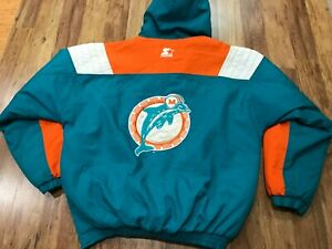 MENS XL - Vtg 90s Miami Dolphins Starter Quilted Hooded 1/2 Zip Pullover Jacket