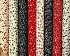 """Honey Bun Fabric Quilting Strips 20~1.5""""  Red Black White Floral Calico Cotton"""