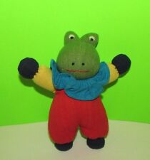 """plush green red yellow blue burlap frog in clown suit small 7.25"""""""