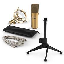 auna USB Kondensator Studio Mikrofon Set Spinne Tischstativ Tasche gold