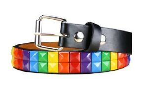 Childrens Kids 2 Row Metal Pyramid Studded Leather Belt w/ Removable Buckle