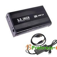 3.5 inch USB 2.0 Aluminum External SATA Hard Drive Disk Enclosure Case Black NEW