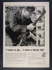 1961 Marlin 336 Rifle hunter bear photos vintage print Ad