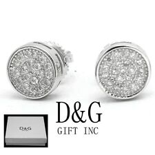 Cz 8mm Round*Earring Screw-Back*Unisex.Box Dg Men's Sterling-Silver 925.Ice-Out