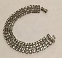 Beautiful Shinny Vintage 4 Row Rhinestone Bracelet Clear Prong Set (43)