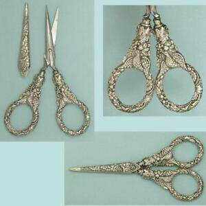 Ornate Antique Grape Vines and Doves Sheathed Sterling Silver Scissors * C1840