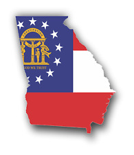Georgia GA State Flag Shaped Sticker Car Truck Bumper Custom Print Vinyl Decal