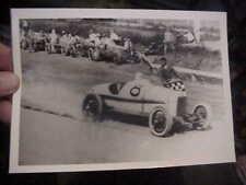 VINTAGE RACE CAR PHOTO RACE CAR GETTING CHECKERD FLAG