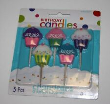 "Amscan Molded 5 pcs Birthday Cakes Candles 2"" Wax, NEW"