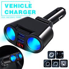 2 Way Cigarette Lighter Socket Splitter Adapter LED Voltage Dual USB Car Charger