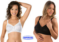 FIRM CONTROL LACE CUP NON WIRED BRA BY NATURANA 5422 WHITE OR BLACK 34-48 B-F
