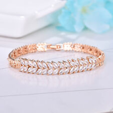 "Horse Eye Shiny Natureal White Fire Topaz Gems Rose Gold Plated Bracelet 7.5"""