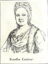 Stampa antica ROSALBA CARRIERA pittrice ritratto1841 Old antique print