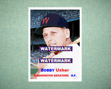 Bobby Usher Washington Senators 1957 Style Custom Baseball Art Card