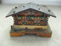 """Vintage 1950s Wood German Cottage Jewelry Music Box 5"""" Tall 8"""" Wide"""