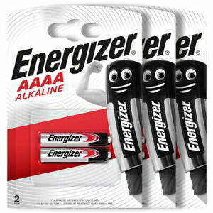 6 x Energizer AAAA batteries Alkaline 1.5V MX2500 E96 LR61 MN2500 Pack of 2