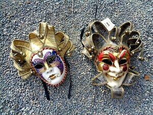 MASKARADE Harlequin Jester Mardi Gras Theater Mask Pair w/Tags VENICE, ITALY