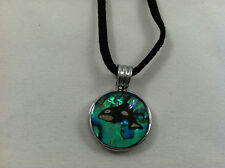 Natural Abalone Paua Shell Pink Killer Whale Circle Pendant Necklace Black Cord